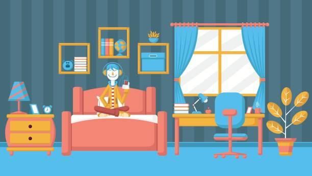 Junge Teenager Im Schlafzimmer Vektorgrafik Jugendzimmer Vektorgrafiken Und Illustrationen