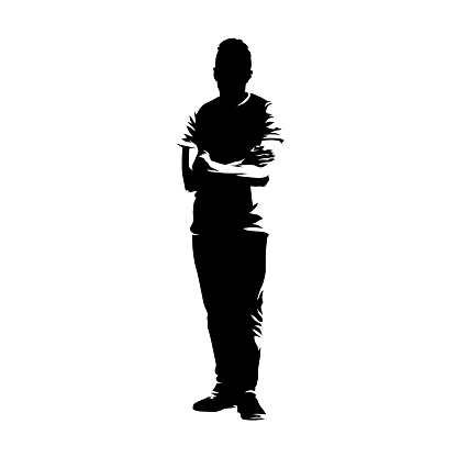 Teenager boy standing with folded arms, isolated vector silhouette. Ink drawing