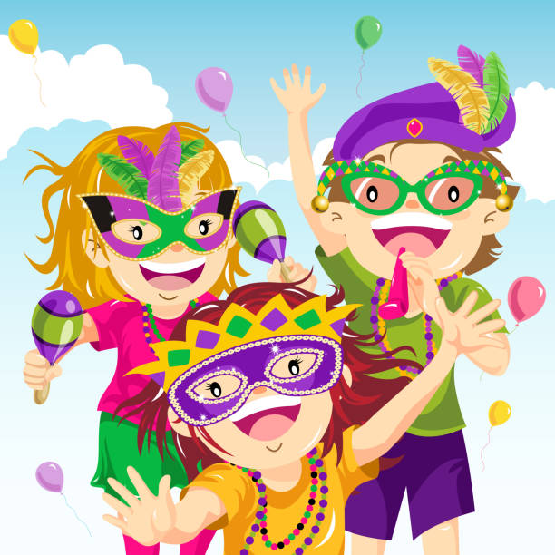 Teenager Dressing Up for Mardi Gras Kids dressing up in Mardi Gras parade. carnival children stock illustrations