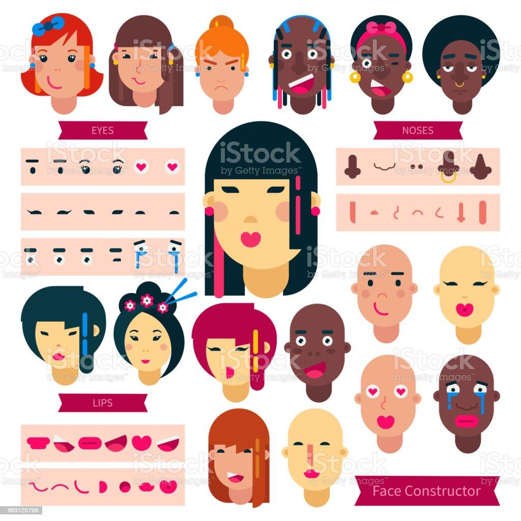 Tonåringen ansikte konstruktorn vector tonåring flicka eller pojke avatar skapande illustration teckenuppsättning ansiktsbehandling element konstruktion med frisyr av japanska eller afrikanska ungdomar isolerad på bakgrunden - Royaltyfri Ansiktsmask vektorgrafik