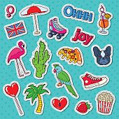 Teenager Fashion Lifestyle Stickers, Badges and Patches with Cute Dog, Tropical Birds and Hearts. Vector illustration