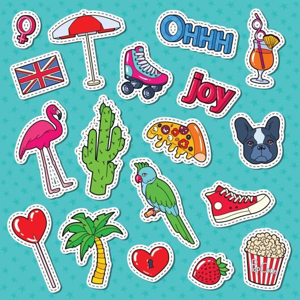 ilustrações, clipart, desenhos animados e ícones de adolescente fashion lifestyle adesivos, emblemas - viagem de primeira classe