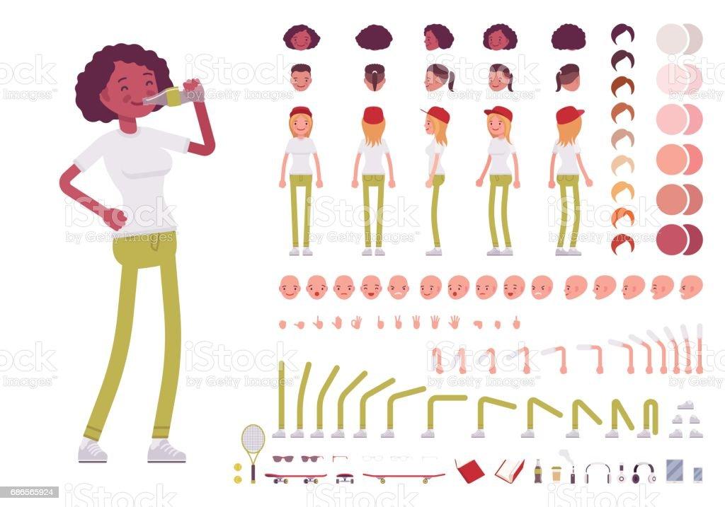Teenager girl character creation set vector art illustration