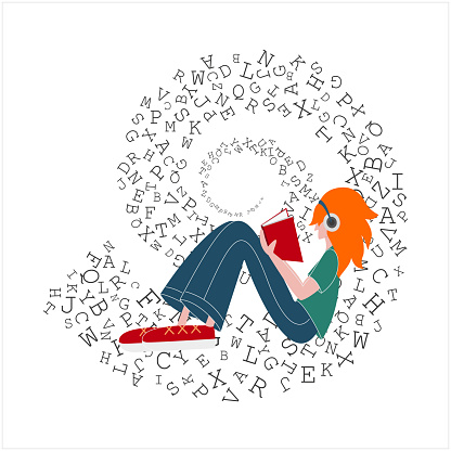 Teenager girl sits and keeps a book with headphones. Letter background. Vector illustration.