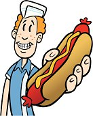 Great illustration of a teenager holding hot dog. Perfect for a diner or a menu illustration. EPS and JPEG files included. Be sure to view my other illustrations, thanks!