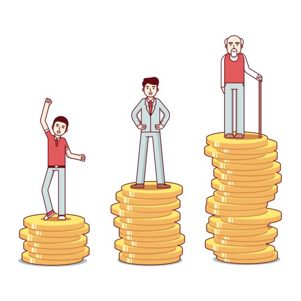 teenager, man, old man standing on stacks of coins - old man shoes stock illustrations, clip art, cartoons, & icons