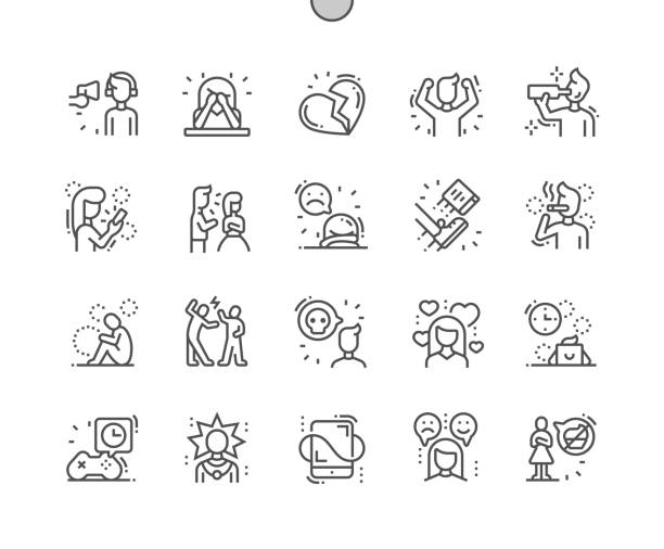 Teenager Problems Well-crafted Pixel Perfect Vector Thin Line Icons 30 2x Grid for Web Graphics and Apps. Simple Minimal Pictogram Teenager Problems Well-crafted Pixel Perfect Vector Thin Line Icons 30 2x Grid for Web Graphics and Apps. Simple Minimal Pictogram addict stock illustrations