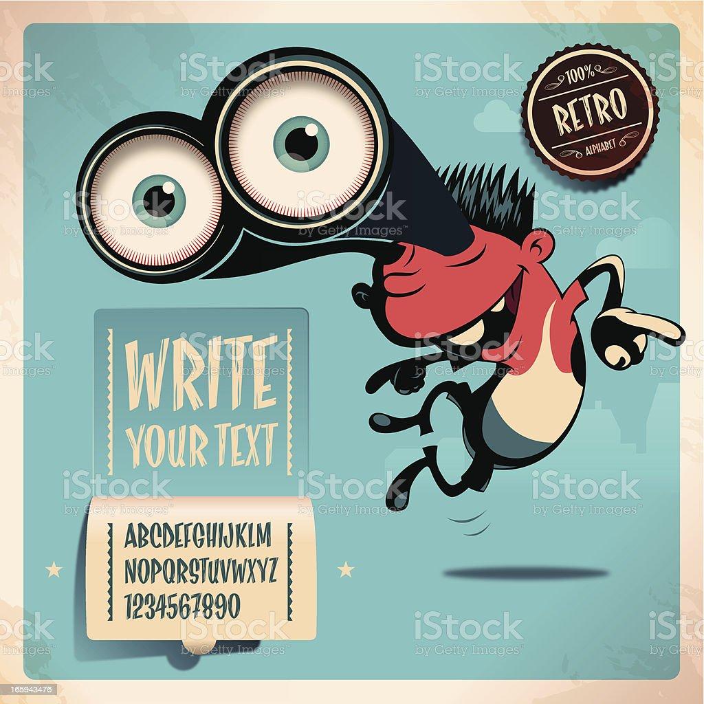 teenager retro alphabet vector art illustration