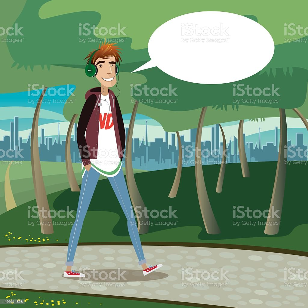 Teenager walking at city park vector art illustration