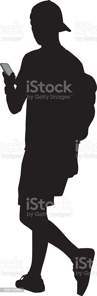 Teenager Walking With Smart Phone vector art illustration