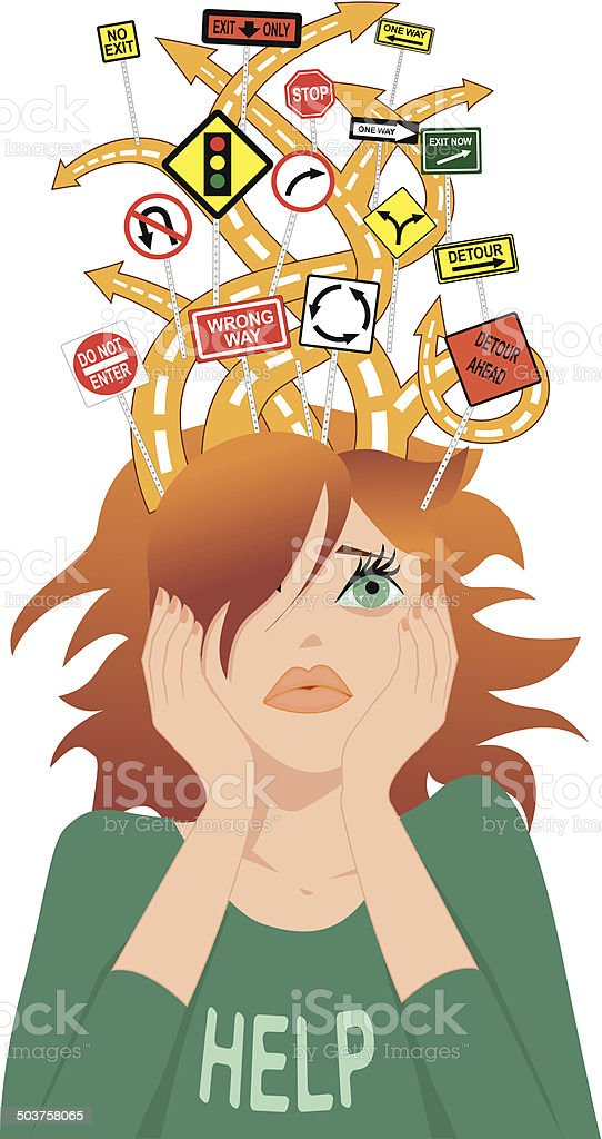 Teenager with ADHD vector art illustration