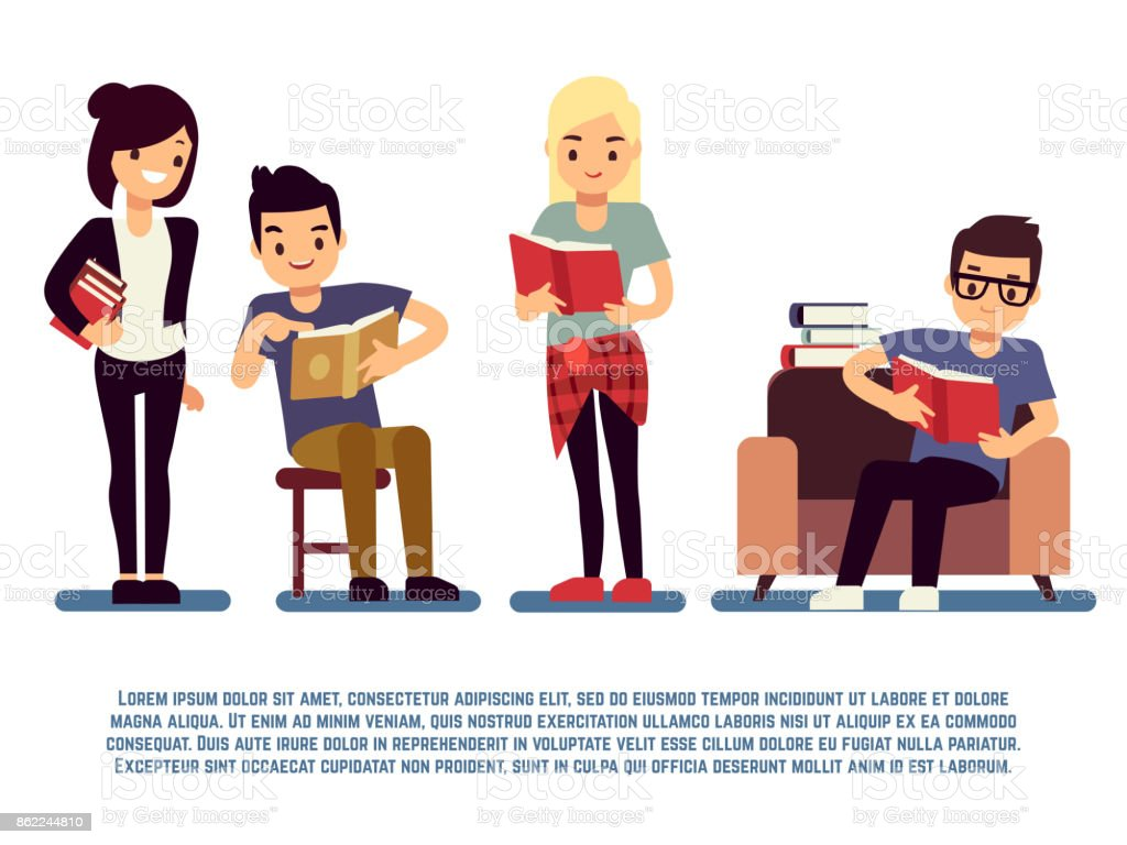 청소년과 흰색-젊은 이들이 독서 개념 절연도 서와 학생 - 로열티 프리 개념 벡터 아트
