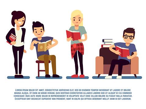 청소년과 흰색젊은 이들이 독서 개념 절연도 서와 학생 개념에 대한 스톡 벡터 아트 및 기타 이미지