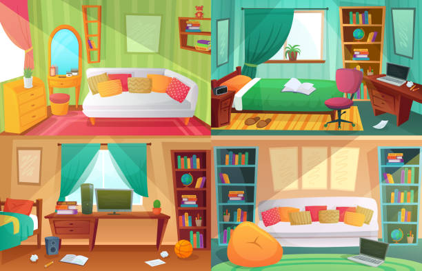 Teenagers bedroom. Student cluttered room, teenager college house apartment and home rooms furniture cartoon vector illustration Teenagers bedroom. Student cluttered room, teenager college house apartment and home rooms furniture. Teen apartment interior, messy dirty and clean bedrooms cartoon vector illustration set bedroom stock illustrations