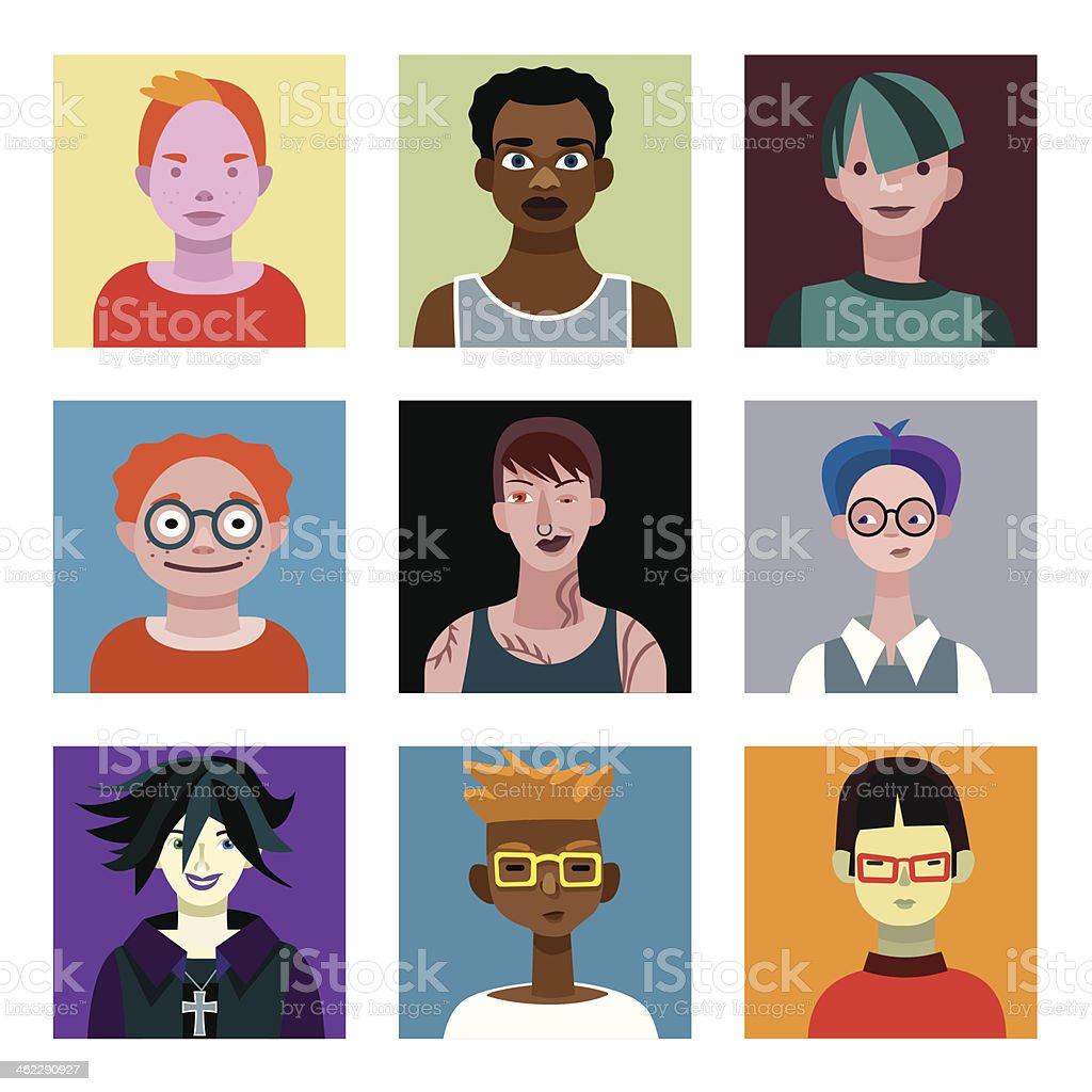 Teenagers Boys Avatars Set vector art illustration