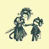 teenagers cartoons manga style. boy and girl in vintage costumes. hand-drawn graphic illustration