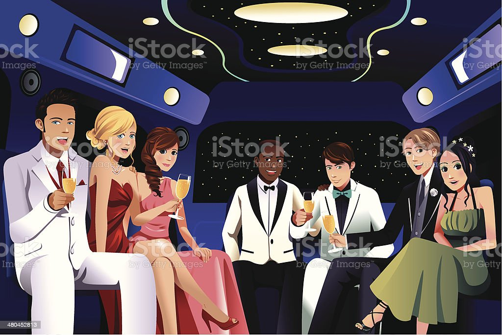 Teenagers going to a prom party in a limousine vector art illustration