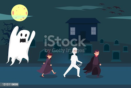 istock Teenagers in halloween costumes chased by ghost 1315119699