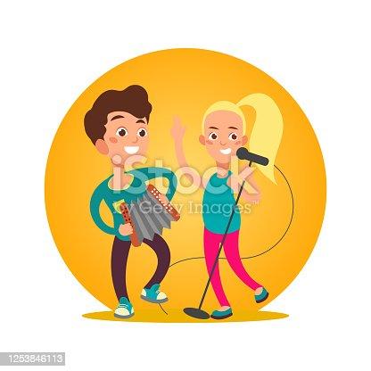 istock Teenagers musician group. Girl and boy 1253846113