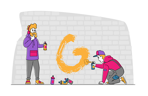 Teenagers Painting Graffiti on Brick Wall. Street Artist Characters Drawing with Aerosol Paints. Young People Activity