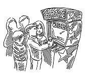 Teenagers Playing Arcade Games Drawing