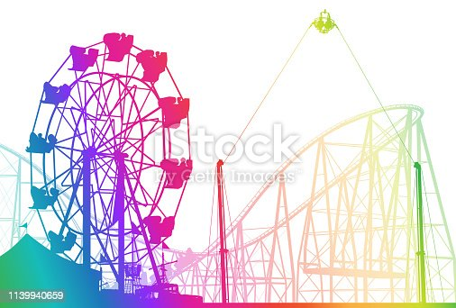 Amusement park rides with swing and roller coaster in bright colours