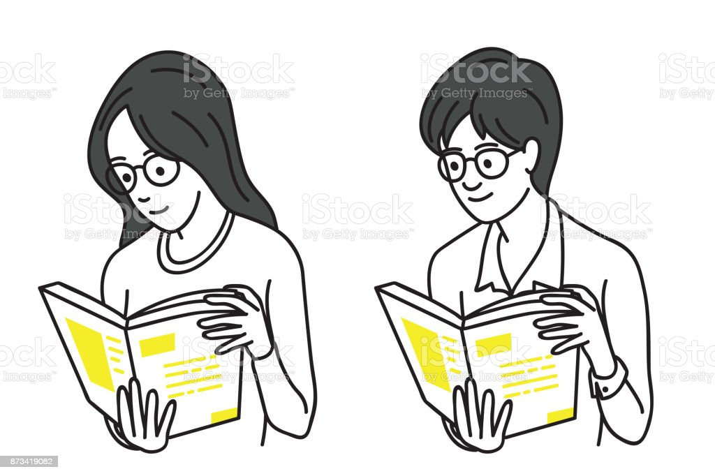 Teenagers reading book vector art illustration