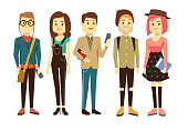 Teenagers, students with gadgets and books vector characters set. Group of people study in university, boy and girl illustration