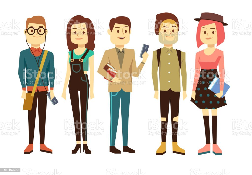 Teenagers, students with gadgets and books vector characters set vector art illustration