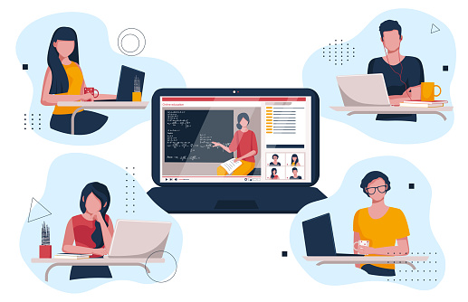 Teenagers watching videos on their laptops. Online training.  Students are watching the lesson online. Vector illustration of home teaching.