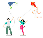Teenagers with kites. Vector illustration in flat style cartoon on a white background.