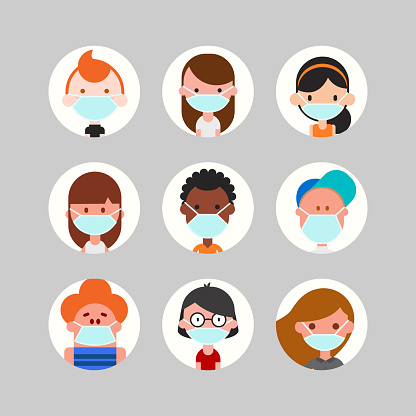 Teens and kids avatar collection. Cute children, boys and girls faces wearing medical face mask, Colorful user pic icons. Flat design style cartoon illustration.