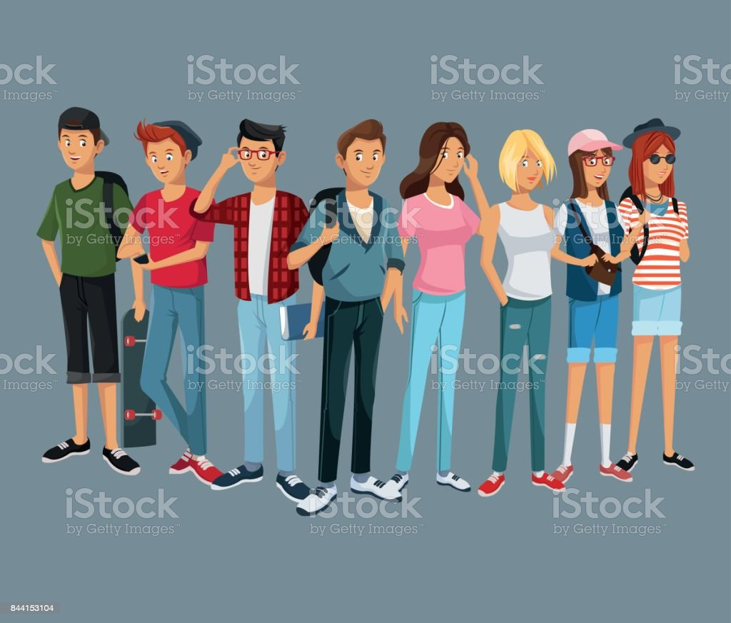 teens group fashion student modern style