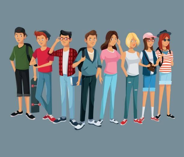 illustrazioni stock, clip art, cartoni animati e icone di tendenza di teens group fashion student modern style - uomini giovani