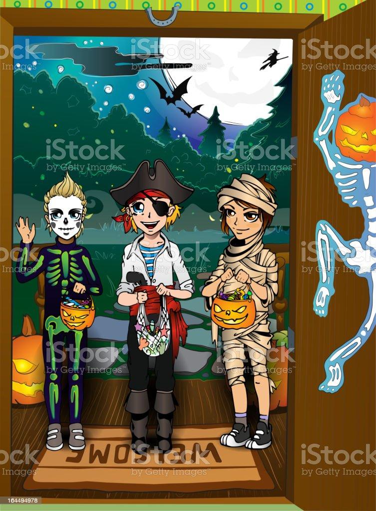 Teens in halloween costumes. Tricks And Treats royalty-free stock vector art