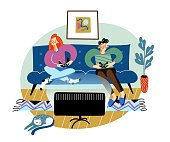 istock Teens playing video games on tv. Boy and girl sitting on sofa with playstation. Online social network lifestyle vector illustration. Hipster students with devices. Leisure and recreation 1279958178