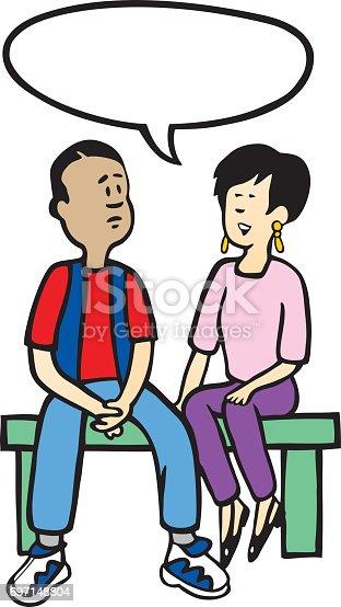 Teens Sitting On Bench Talking