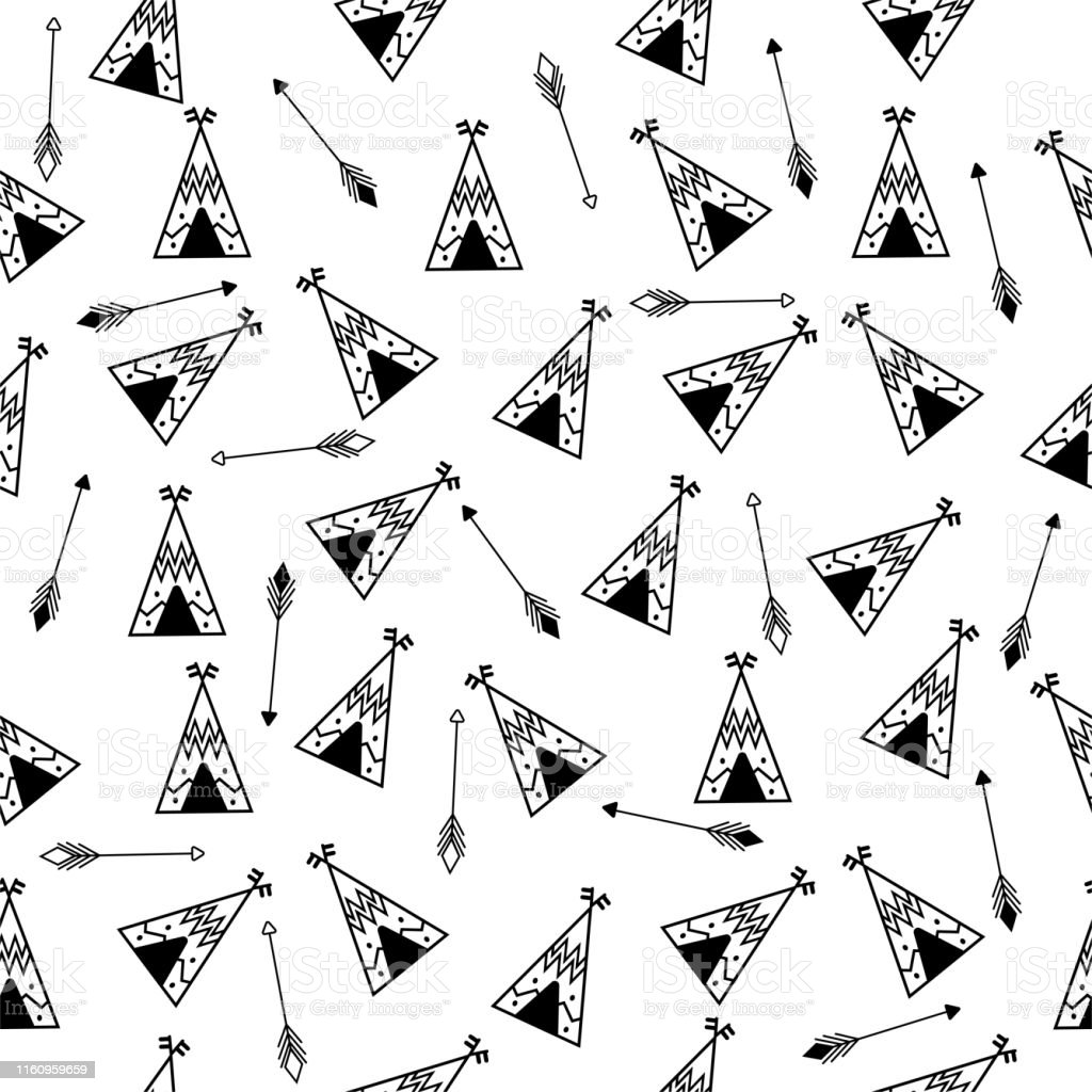 Teepee And Arrows Seamless Pattern Indian Repetitive Design Native