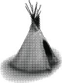 Teepee Avatar. Halftone Pattern. Black and white.