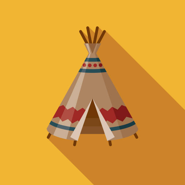 Teepee Flat Design Canadian Icon with Side Shadow A pastel colored flat design Canadian icon with a long side shadow. Color swatches are global so it's easy to edit and change the colors. teepee stock illustrations
