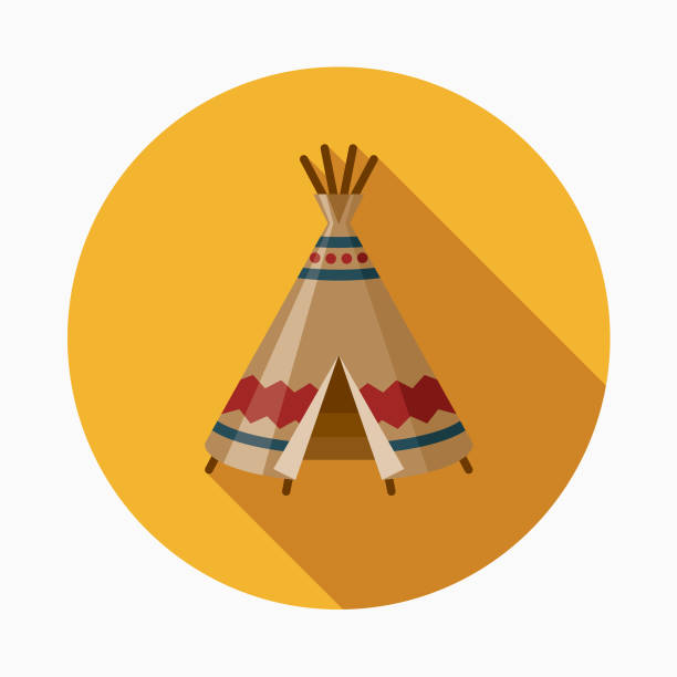 Teepee Flat Design Western Icon A flat design styled Wild West icon with a long side shadow. Color swatches are global so it's easy to edit and change the colors. teepee stock illustrations