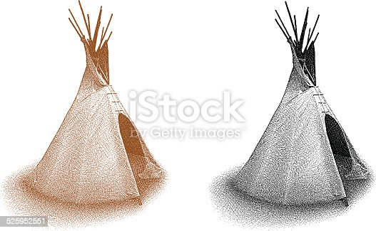 Etching illustration of a Teepee. Black and white. Sepia.