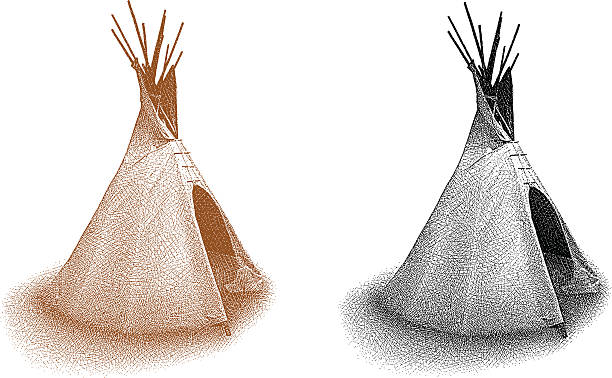 Teepee Isolated On White Etching illustration of a Teepee. Black and white. Sepia. teepee stock illustrations