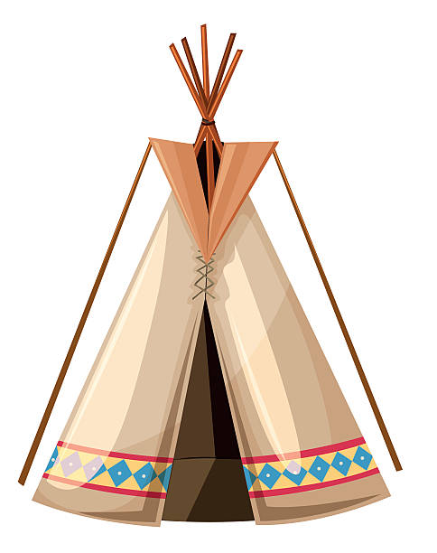 Teepee with wooden sticks poles Teepee with wooden sticks poles illustration teepee stock illustrations