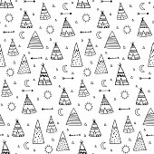 vector seamless pattern of cute hand drawn teepes on white background