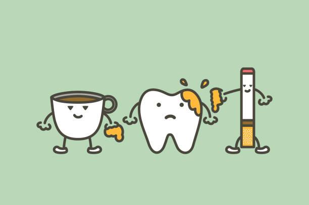 bildbanksillustrationer, clip art samt tecknat material och ikoner med tänderna är utsuddade från kaffe och cigarett, plack och gula tand koncept - tandsten