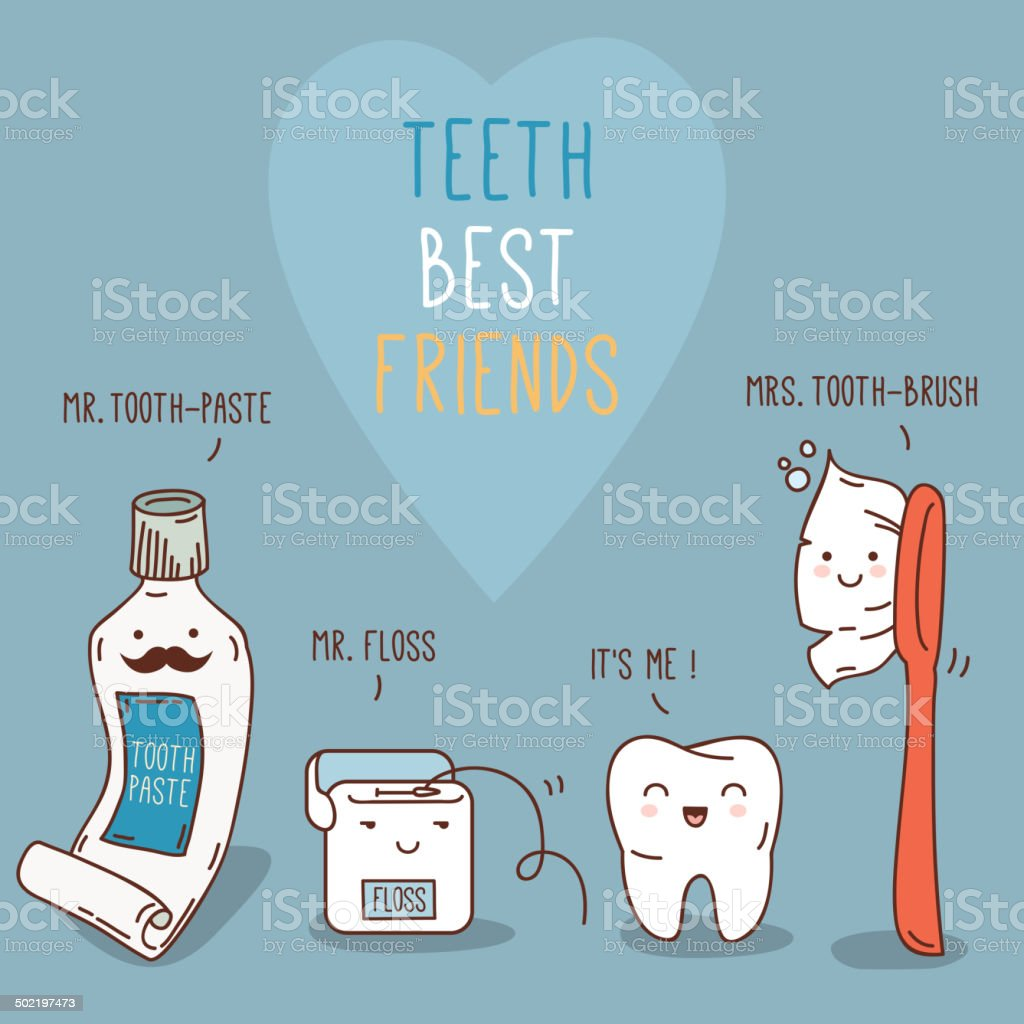 Teeth best friends - tooth-past, tooth-brush and floss. vector art illustration