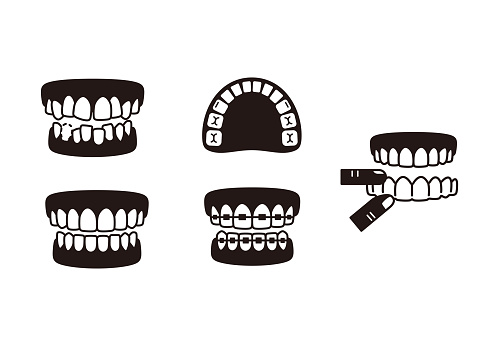 Teeth braces and invisible braces icons