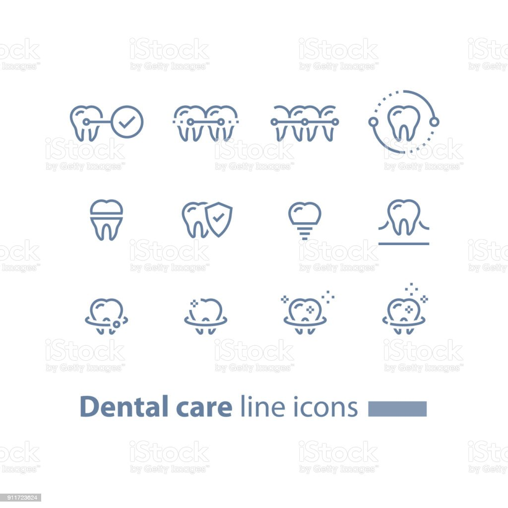 Teeth braces, dental care, stomatology services, cleaning and whitening, implant and crown, protection concept, line icons vector art illustration