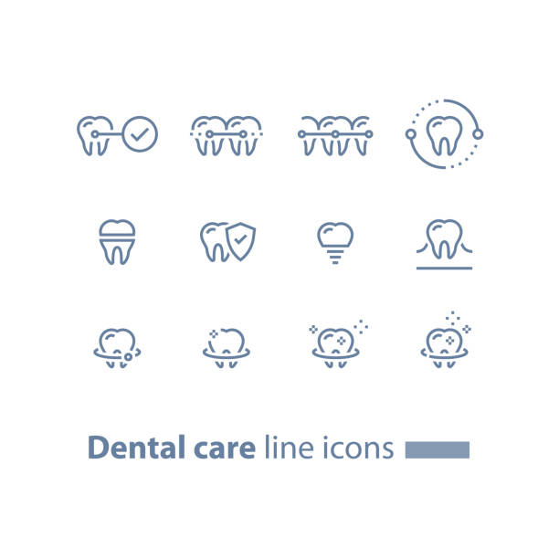 illustrations, cliparts, dessins animés et icônes de accolades de dents, soins dentaires, services de stomatologie, nettoyage et blanchiment, implant et couronne, concept de protection, ligne d'icônes - orthodontiste